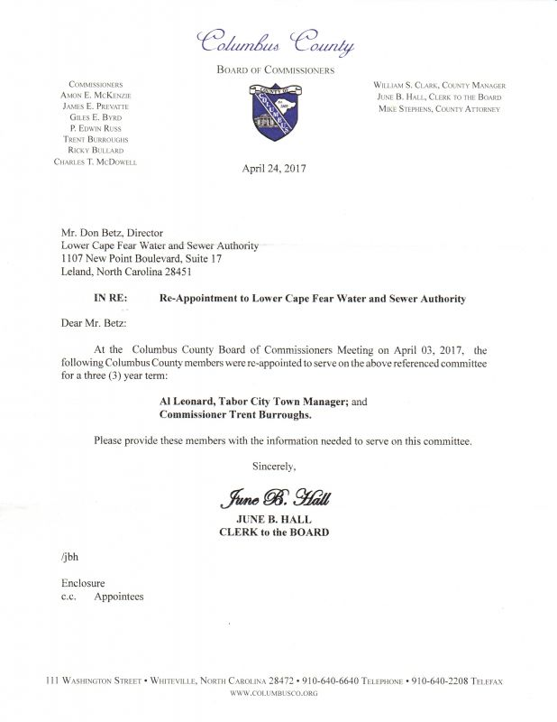 Burroughs & Leonard Reappointment Ltr